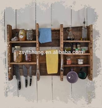 Vintage Wooden Hanging Kitchen Shelf Rack Organizer Buy Kitchen
