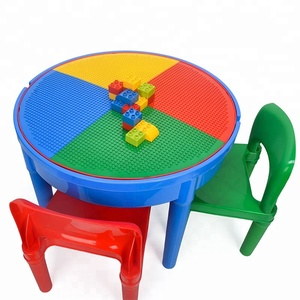 Kids Plastic BricksToy Activity Play Table with storage box and chairs