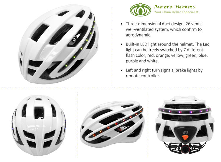 CE approved lightweight smart led helmet with turn signals 5