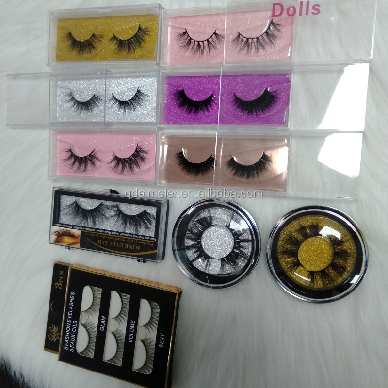 ขายส่ง 100% จริงไซบีเรีย 3d 5d mink fur ขนตาปลอม vendor และ eyelash กล่องบรรจุภัณฑ์