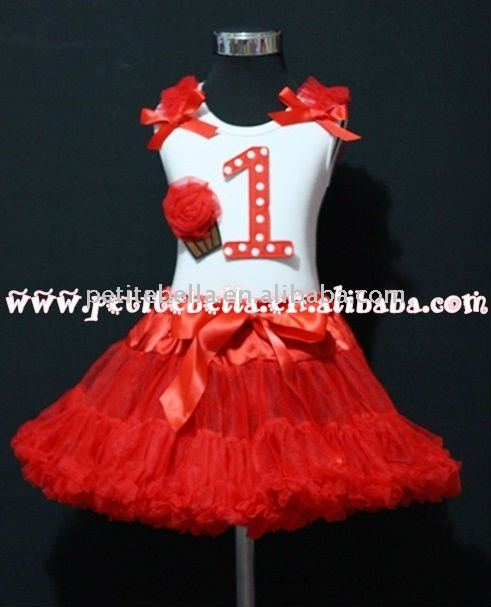 1st Birthday White Tank Top with Red White Polka Dots Print number and Red Rosettes Cupcake with Red Pettiskirt MAMM07