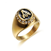 DAICY factory top quality hiphop custom cheap wholesale men gold stainless steel masonic diamond ring