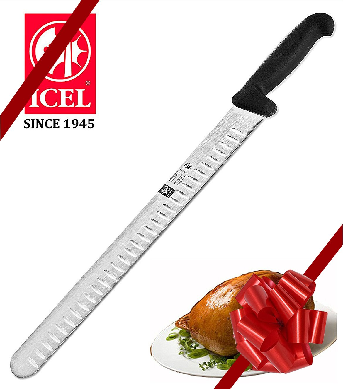 12-inch Blade Granton Edge, Turkey, Salmon, ham Slicer, Meat Slicing Knife. NSF Certified, German Steel,Knife sharpening instruction included, Best Knife to Slice Large Roast and Whole Turkey.