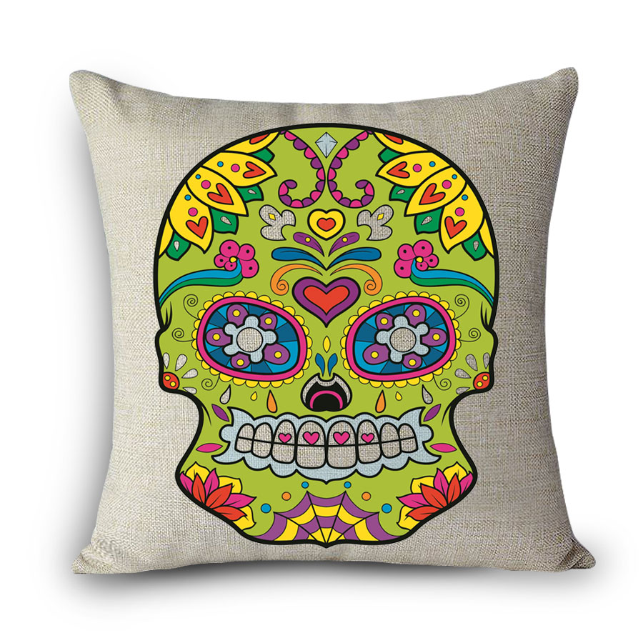 Scandinavian Cojines Mexican Skull Cushion Cover Pillow Case Halloween Day Of The Dead Home Decor Arts Personality Waist Hold