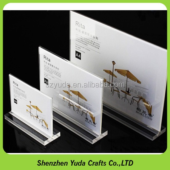 Whole Price T Style Display Business Card Insert Sign Holder Polished Acrylic Table Tent