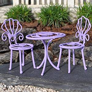 Party Table And 2 Chairs, Color Choices For Miniature Garden, Fairy Garden,  Purple