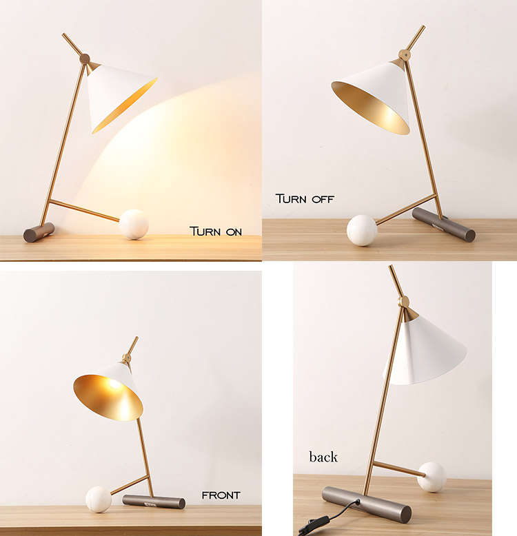 modern simple table lamp Hotel bedroom marble decoration desk lamp with lampshade led E27 natural marble table lamp