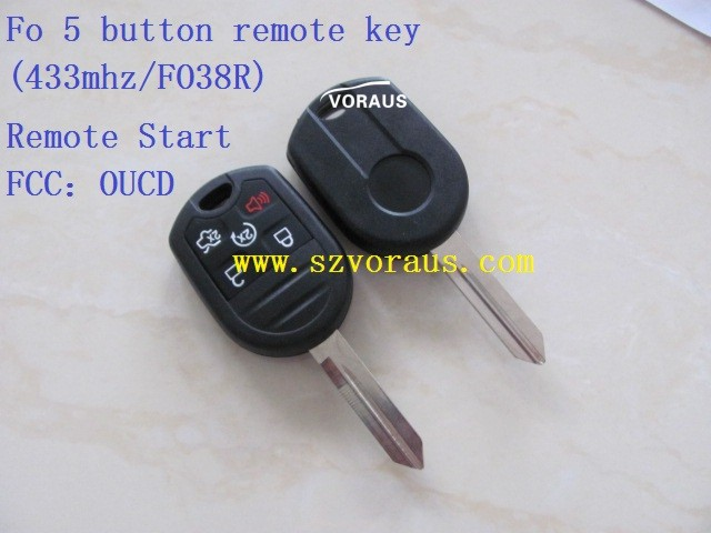 Car 5 button remote key (433mhz/FO38R) for Ford Edge ; Remote Start FCC:OUCD
