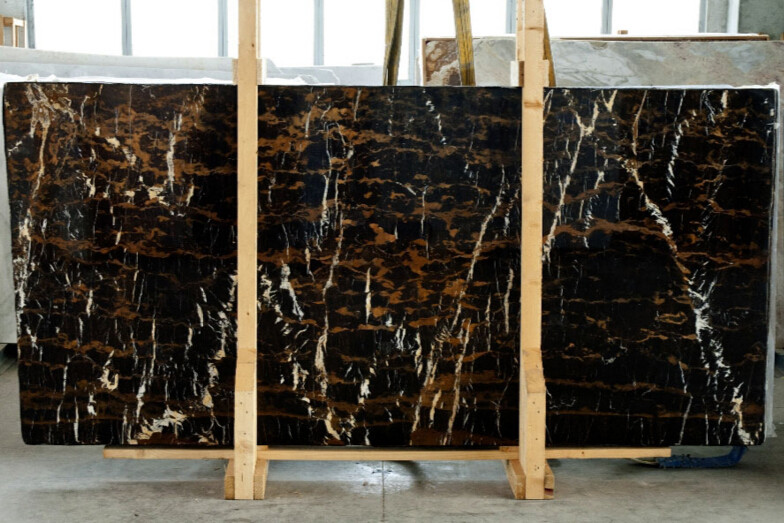 Fabulous Imported Italy Cut To Size Black Portoro Marble Tiles With Gold Vein For Bathroom Tile