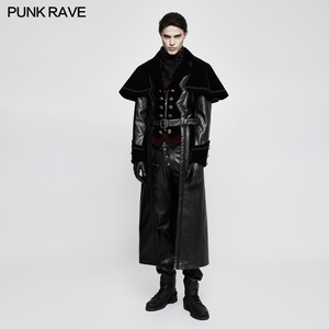Y-815 European Gothic fashion winter men's heavy leather cape poncho coat