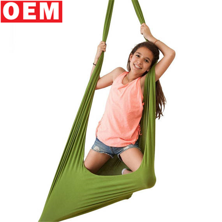 YLM custom design Indoor Outdoor green Kids soft Hammock knit Swing Chair Toy Hammock