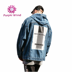 Factory price wide waist bomber loose ripped damaged back patch custom jean jack for man