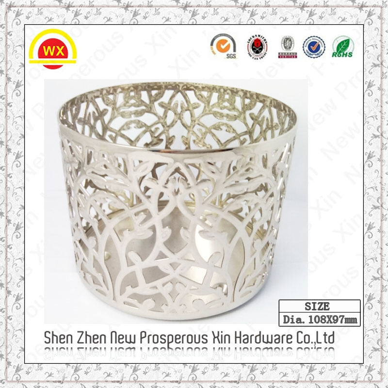 Wholesale silver decorative bling metal and wooden candle holder
