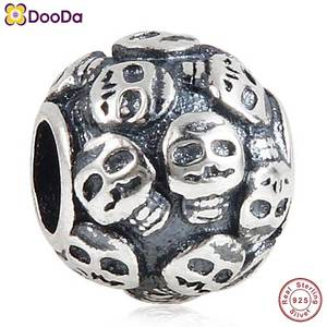Dooda Jewelry Terrible Skulls Charm Antique 925 Sterling Silver Death's Head Bead for European Halloween Gift Bracelet