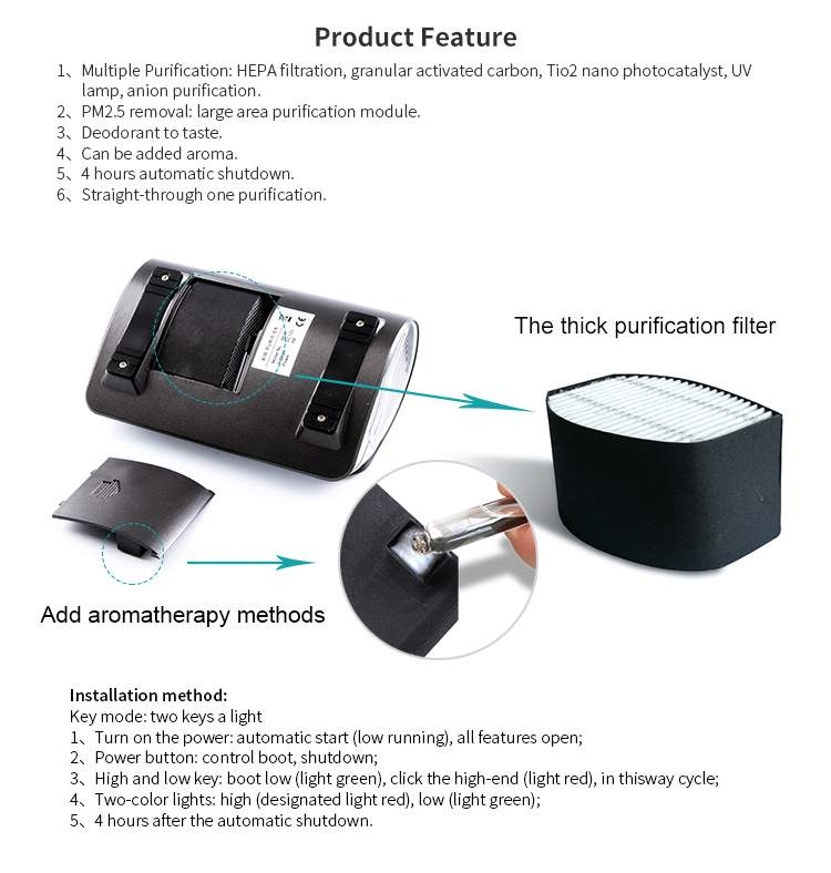 Commercial portable ionizer air purifier with hepa filter