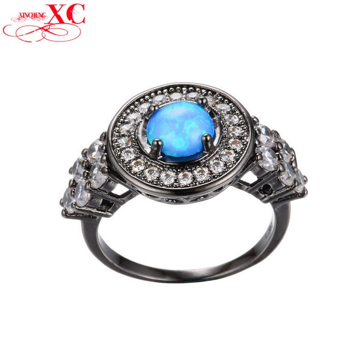 Dudee Jewelry Opal Stone Ring Women Fashion Jewelry T Black Gold Filled Zircon Finger Ring Size 6/7/8/9 Wedding Ring anel anillo RB0257