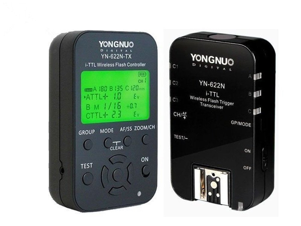 YONGNUO YN622N-KIT Wireless HSS I-TTL Flash Trigger Kit with LED Screen for Nikonon including 1X YN622N-TX Controller and 1X YN622 N Transceiver