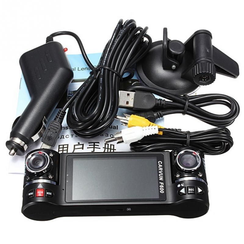 Универсальный F600 2.7 дюймов TFT HD жк-hdmi ночного видения с двумя с поворотом объектив видеорегистратор камеры приборной панели автомобиля видеорегистратор видеокамера