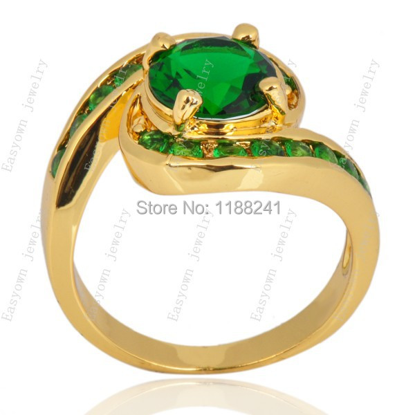 10ps/lot Size 7/8/9 Women Finger Ring Emerald Color Zircon Stone Fashion Jewelry Rings HOT Selling RY0042