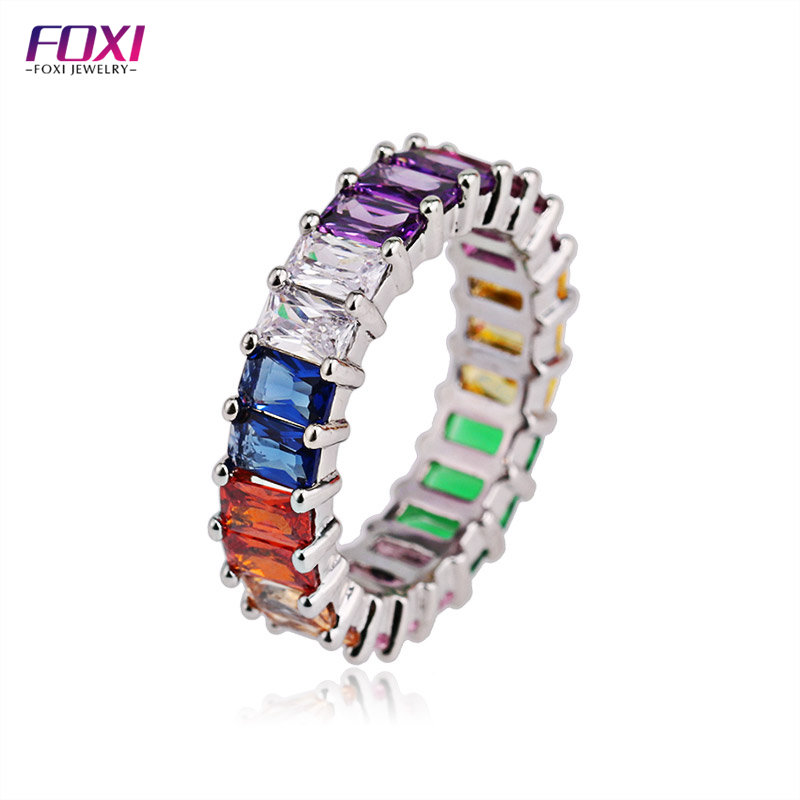 foxi jewelry cz fashion rainbow cristal <strong>rings</strong>