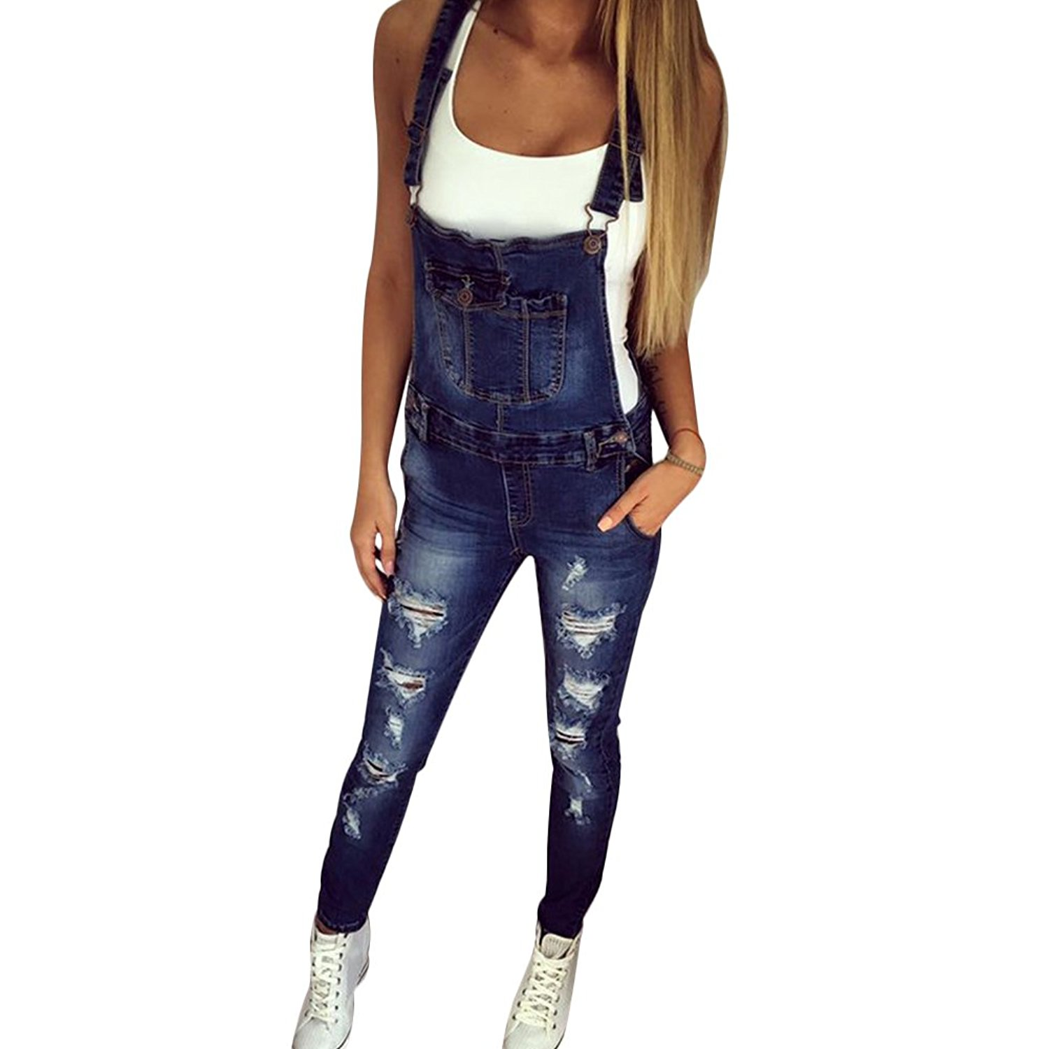 2a0e0629f5f3 Get Quotations · CHICFOR Womens Overall Denim Jeans Adjustable Strap Ripped Hole  Bib Overall Jeans Jumpsuit
