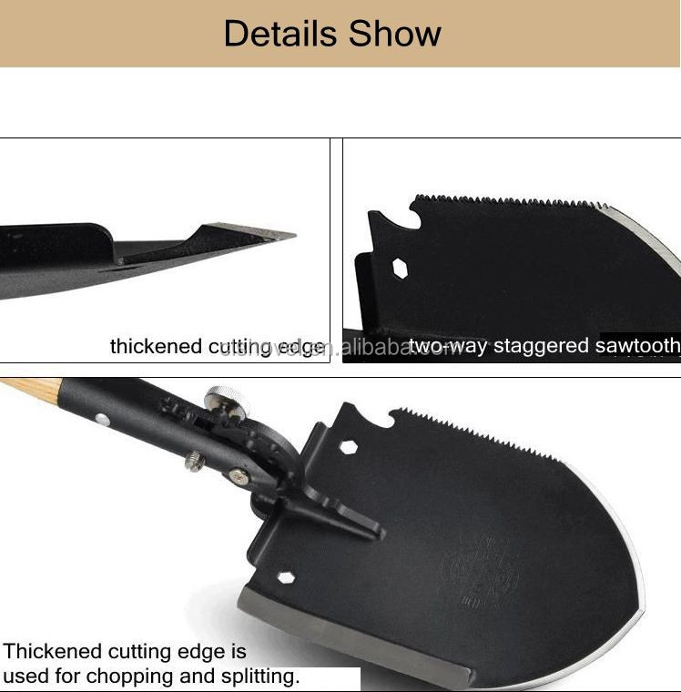 Military Snow Shovel with Wood Handle and Efficient Two-way Staggered Sawtooth