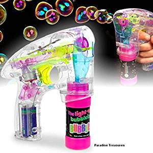 Light Up LED Transparent Bubble Gun Blaster Toy - Light Up LED, Transparent, & Battery Operated - For Kids, Boys, Girls, Playing, Outdoors, Indoors, Gifts, & Party Favors
