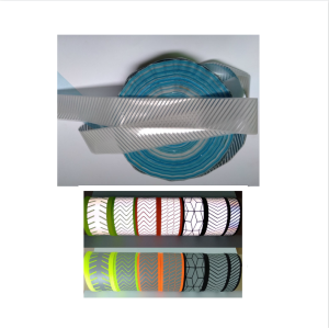 high light green / silver iron on reflective trimming tape / stripes for clothing segmented heat transfer reflector vinyl tape