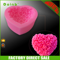 Amazon hot sale china factory direct price 3D rose flower love heart silicone fondant mold for cake decorating baking tools