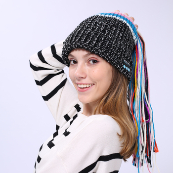 Long rainbow ponytail wireless music hat wool knit bluetooth beanie 2e036004a54