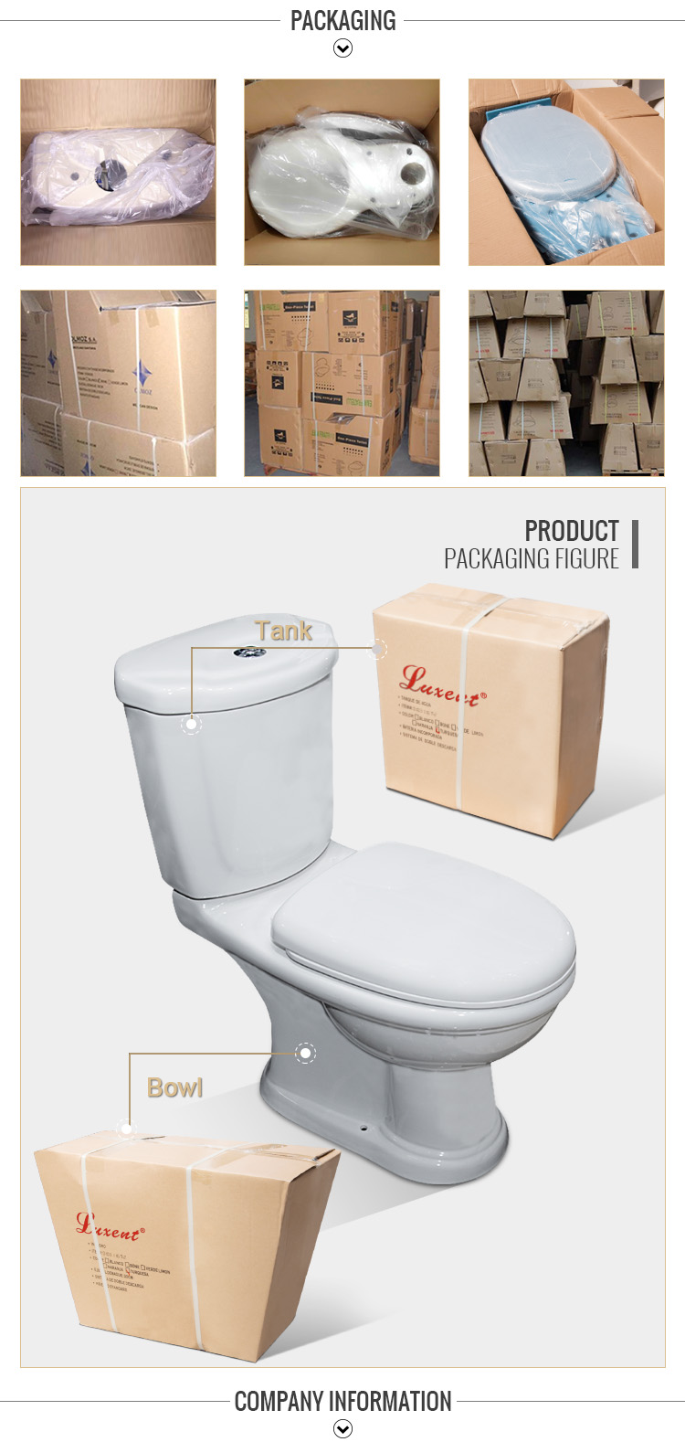 High Quality Porcelain Sanitary White Color Gravity Flushing Two Piece Toilet