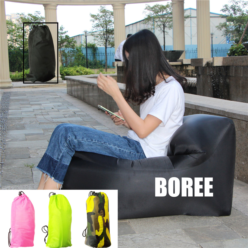 Inflatable Air Sofa Oxford Fabric Durable Lounger Safe Outdoor Sleeping Bed