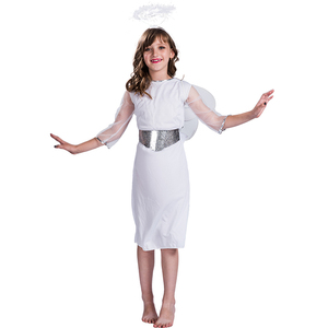 Halloween carnival party fancy dress white angel wings costume for kids children girls