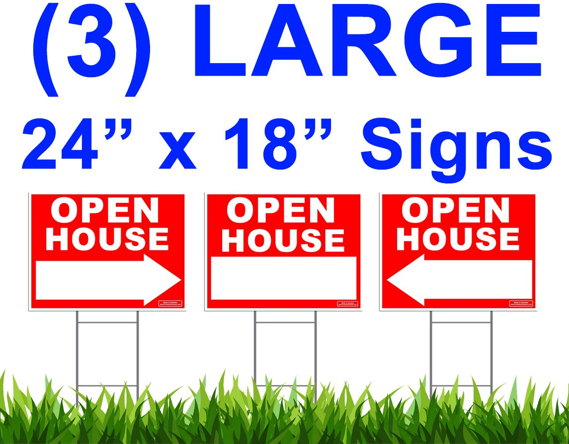 """Large OPEN HOUSE Sign Kit with Tall Stands - Yard Sign Bundle for Real Estate - 3 Pack - (1) 24"""" x 18"""" Yard Sign with (2) Directional LEFT or RIGHT Arrow + (3) 24"""" Tall Wire Stakes"""
