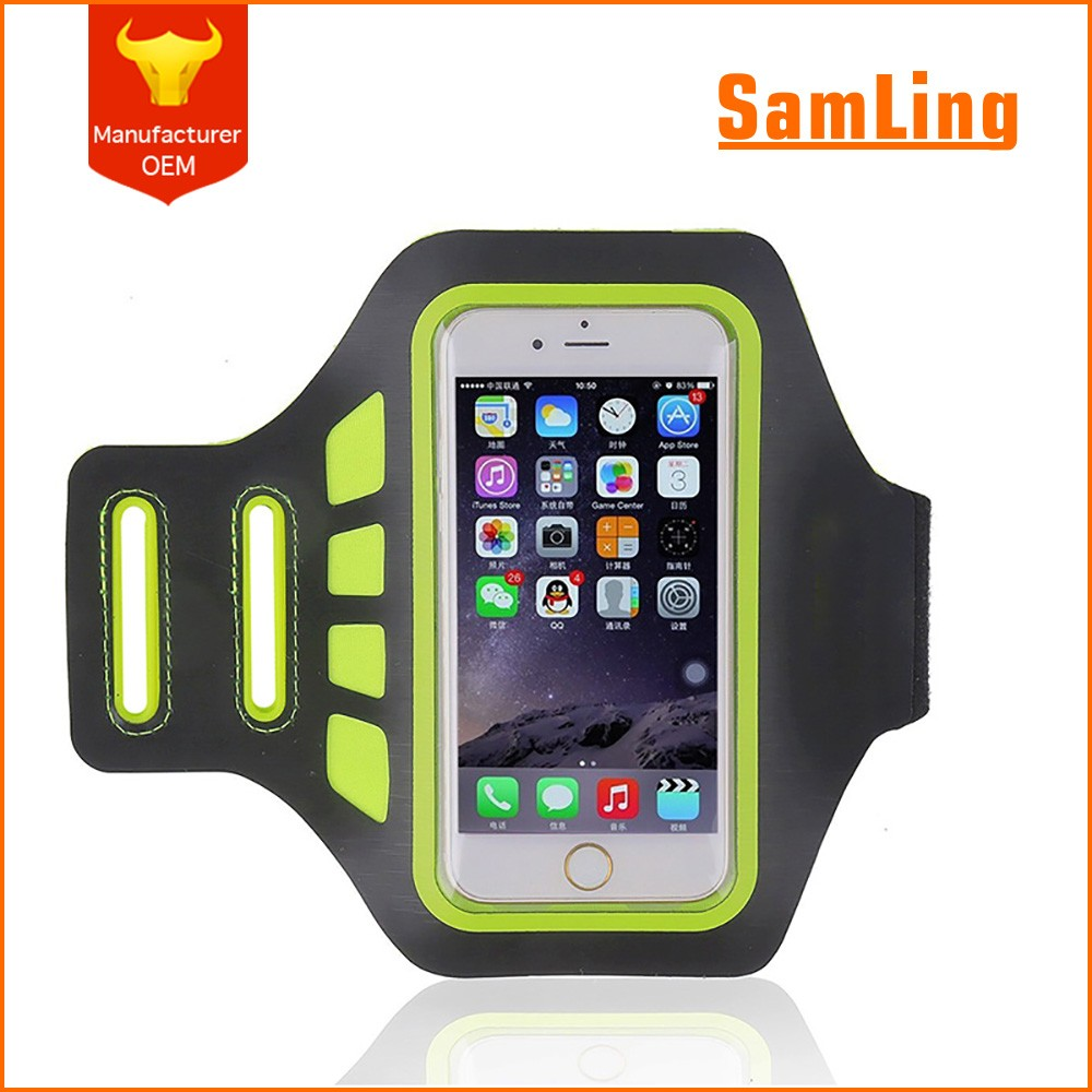 Fashion Design Colorful Neoprene Reflective Water Resistant Running Sports Armband for IPhone 7 Plus with Card Holder