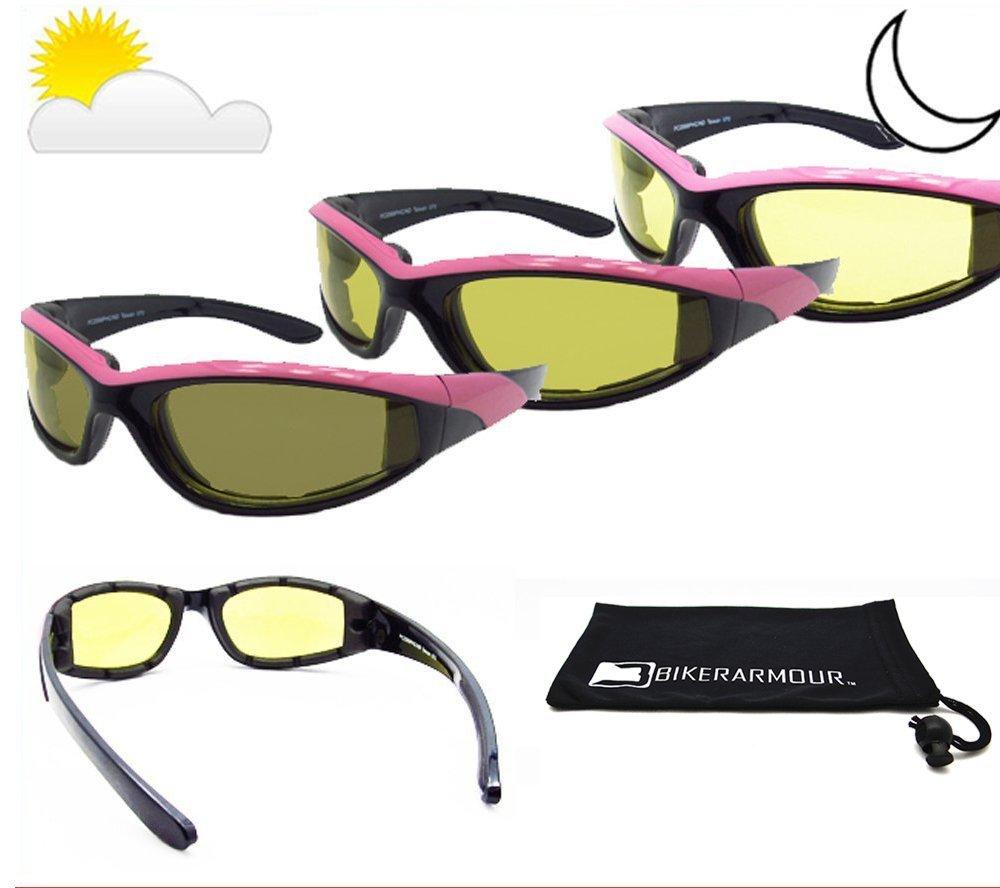 Buy Pink Frame Light Adjusting Motorcycle Glasses Foam Padded for ...