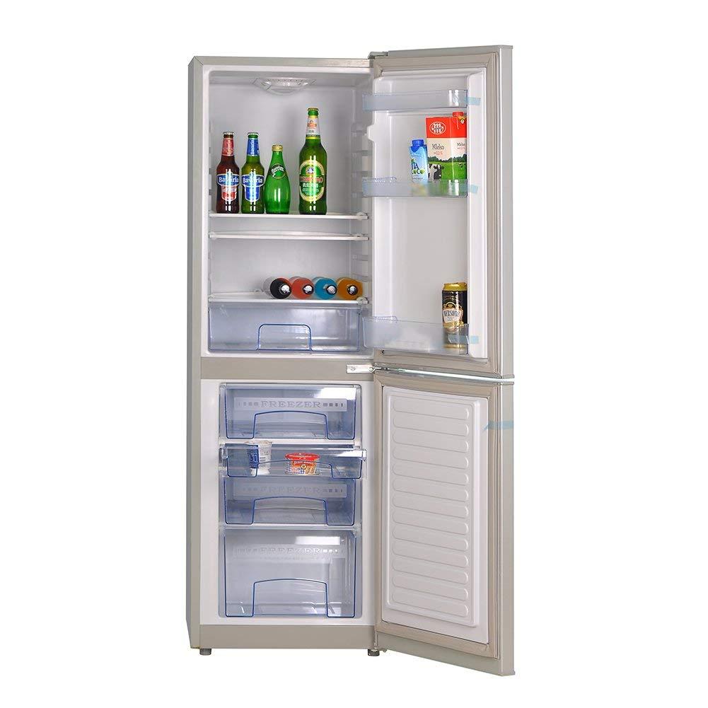 SMETA AC/DC/Solar-Powered 3-Ways Double Door Refrigerator,Silver