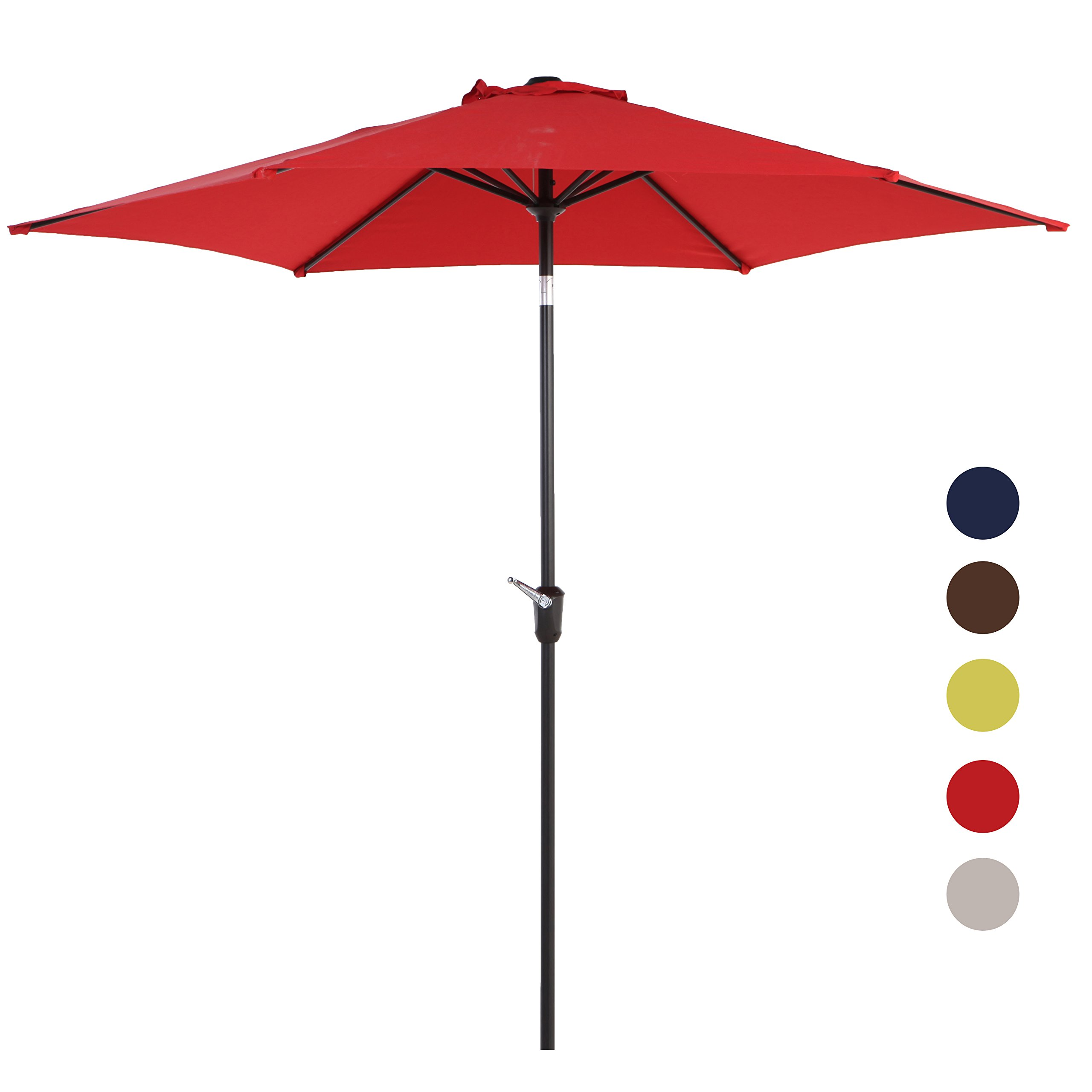 Grand patio 9FT Aluminum Patio Umbrella, UV Protective Beach Umbrella with Easy Crank and W/O Tilt, Powder Coated Outdoor Umbrella, Red