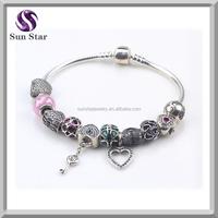 Custom designs Sterling silver Murano Glass Beads various charms options snake chain European bracelet Diy Original Bracelet