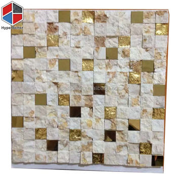 Factory price yellow and white nature marble mosaic