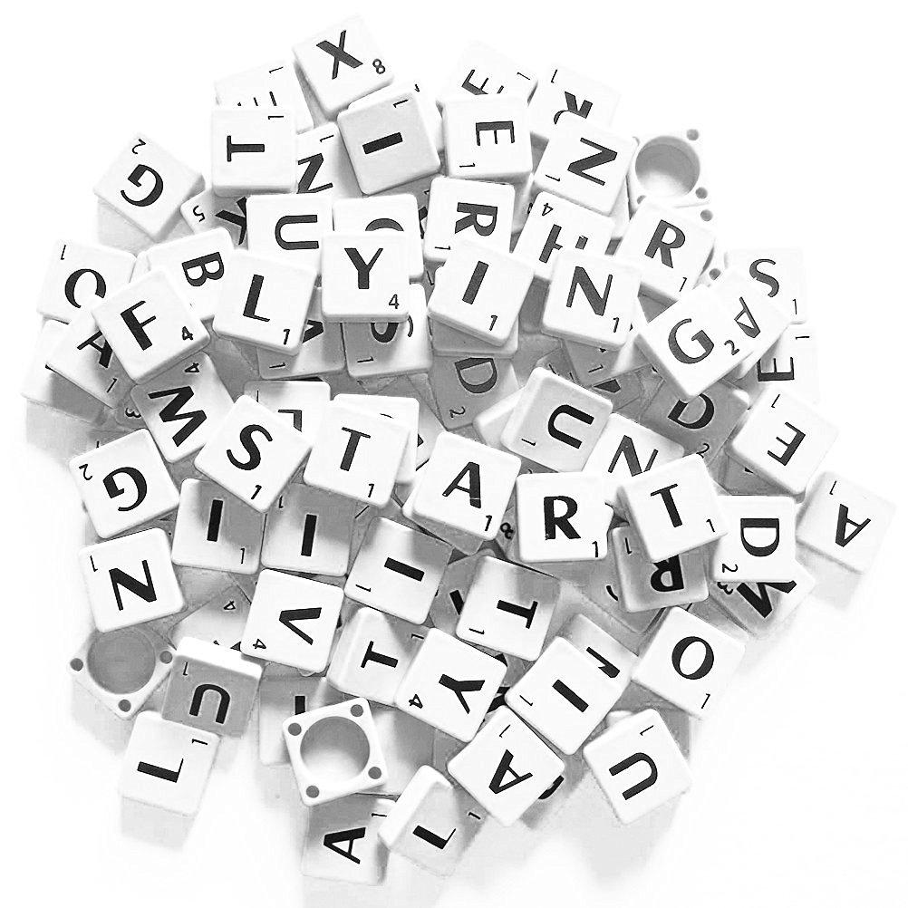 ROSENICE 100pcs Scrabble Tiles Letter Tiles Plastic Tiles (Ivory Black)