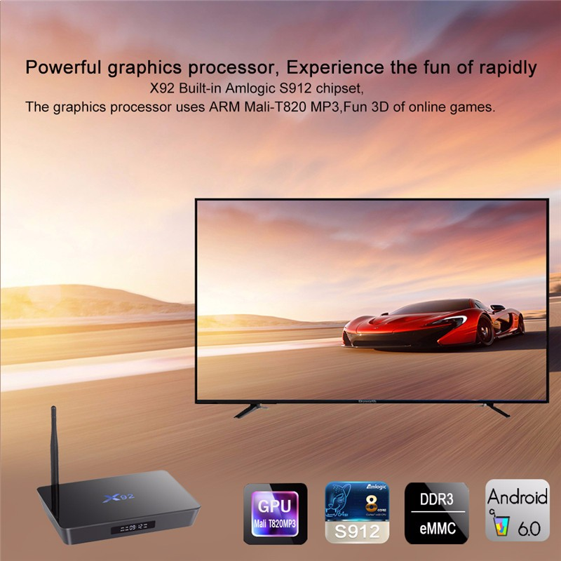Wholesale ott tv box X92 Amlogic S912 2G 16G Android 6.0 KD player  17.0 2.4G 5G WIFI With External Antenna android s912 tv box