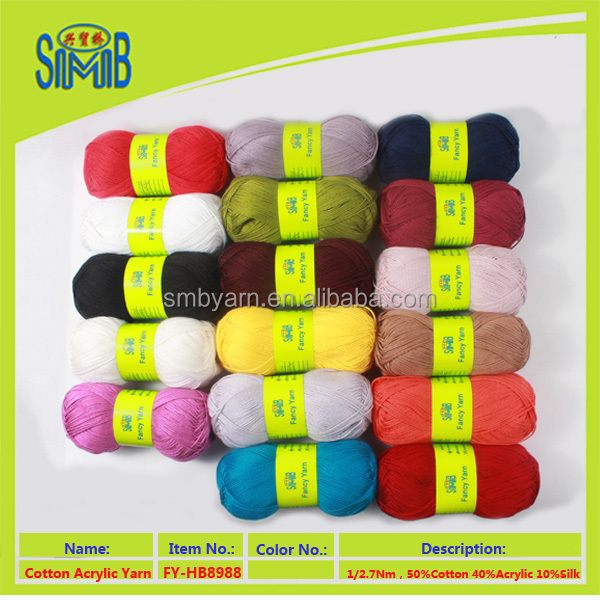 Suzhou huicai wholesale oeko tex soft cotton acrylic blends yarn cone yarn made in china silk yarn for knitting