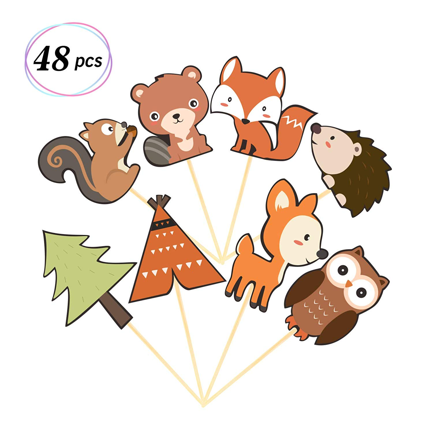 Woodland Creatures Cupcake Toppers Forest Animals Cake Decorations Woodland Theme Baby Shower Birthday Party Supplies