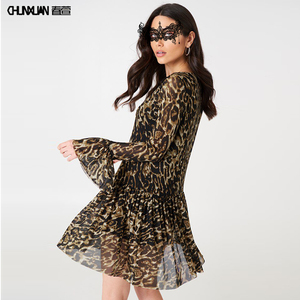 Women wild fashion plus size dress skirts leopard dress for causal wear