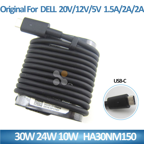 Genuine original laptop adapter 30w 24w 10w ac/dc notebook adapter for DELL 20v 12v 5v 1.5a 2a 2a HA30NM150