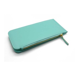 Fashion PU leather Material Credit Card Holder Zipper Around Aluminum Women Wallet