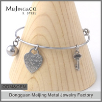 Cheap Wholesale Bulk Heart Charm Bracelets Expandable Bangle Bracelet