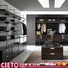 2017 New style home design bedroom furniture wardrobe aluminum pole system wooden modern walk in closet