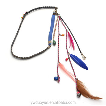 Tribal Native American Real Feather Boho Hair Band Wedding Accessories